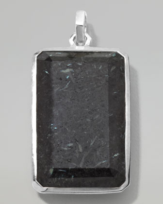 Men's Sterling Silver Large Rectangular Pendant in Nuummite/Lapis