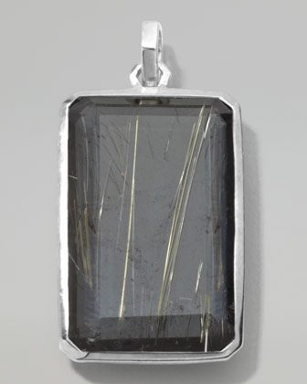 Men's Sterling Silver Large Rectangular Pendant in Rutilated Quartz/Hematite