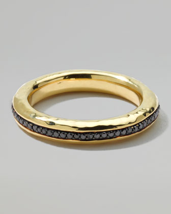 Men's 18k Gold Channel Ring with Black Diamonds, Size 10