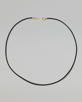 Men's 18k Gold-Hook Leather Necklace in Black, 22