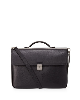 Revival Double-Pocket Flap Briefcase, Black