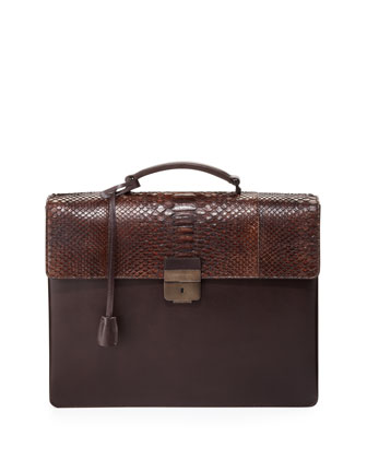 Python-Flap Double-Gusset Briefcase, Brown