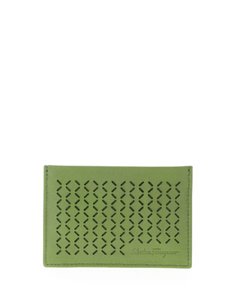 Drill Perforated Leather Card Case, Green