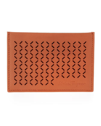 Drill Perforated Leather Card Case, Orange
