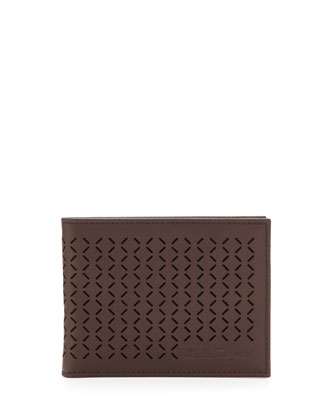 Drill Perforated Bi-Fold Wallet, Brown