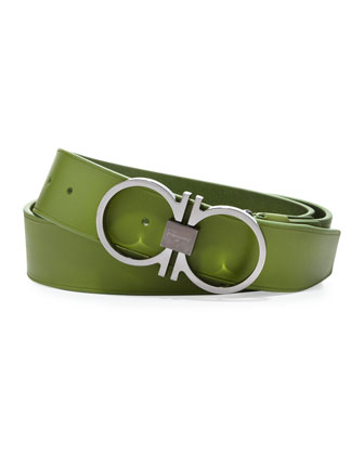 Wide Gancini-Buckle Belt, Green