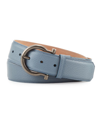 Pebbled Gancino Belt, Light Blue