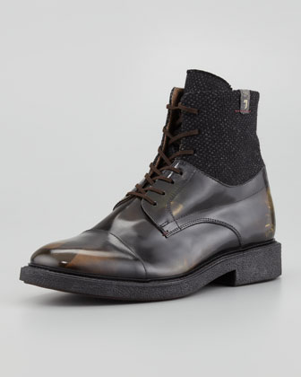 Sanford Camo-Leather Boot, Black