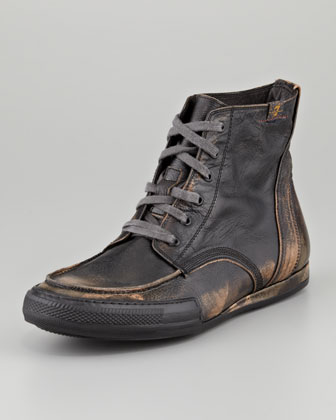 Logan Burnished Camo Boot, Black
