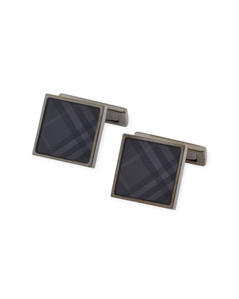 Square Cuff Links, Charcoal Check