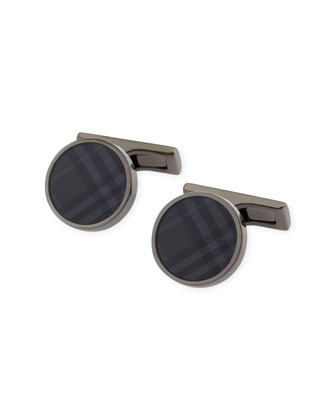 Round Cuff Links, Charcoal Check