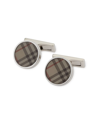 Round Cuff Links, New Trench Check