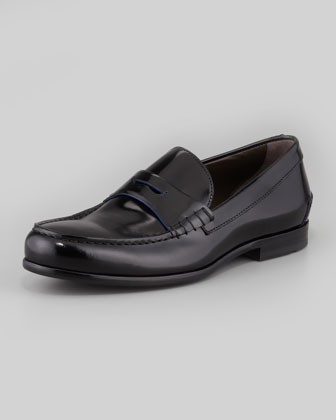 Penny Loafer with Blue Detail, Black