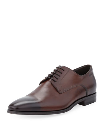 Cassab Burnished Leather Lace-Up Shoe, Medium Brown