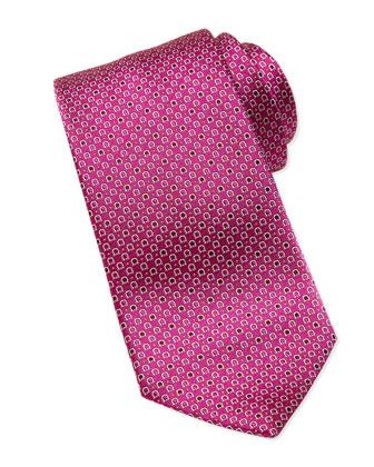 Micro Gancini Silk Tie, Pink