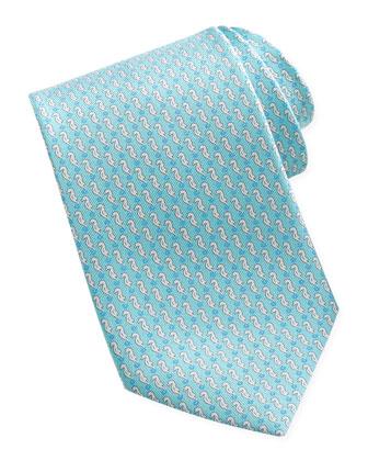 Seahorse Silk Tie, Aqua