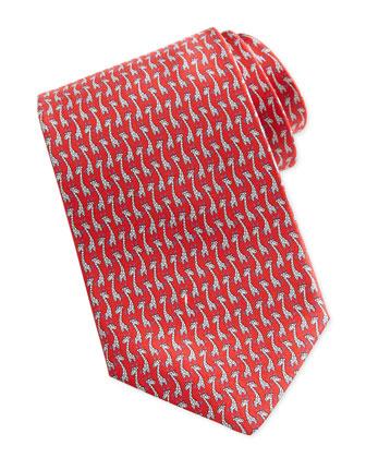 Giraffe-Print Silk Tie, Red