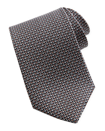 Anchor-Print Silk Tie, Black