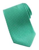 Micro-Gancini-Print Silk Tie, Green