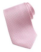 Micro-Gancini-Print Silk Tie, Pink