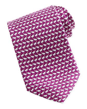 Whale-Print Silk Tie, Magenta