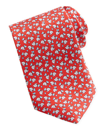 Elephant/Balloon Silk Tie, Red