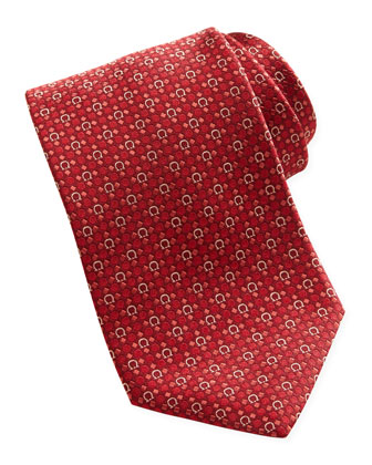 Woven Gancini Silk Tie, Red