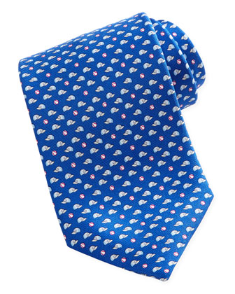 Baseball-Print Silk Tie, Blue