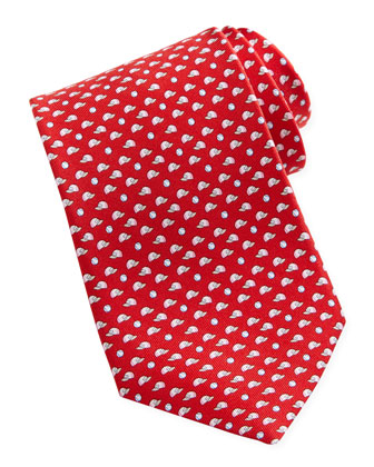 Baseball-Print Silk Tie, Red