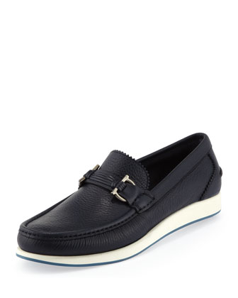 Rieti Gancini Rubber-Sole Loafer, Navy