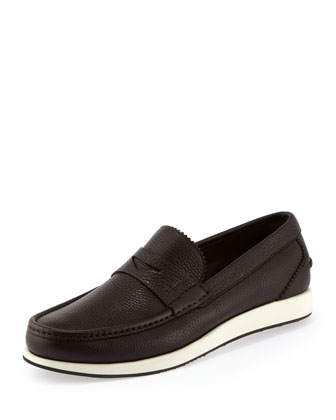 Renaud Rubber-Sole Penny Loafer, Brown