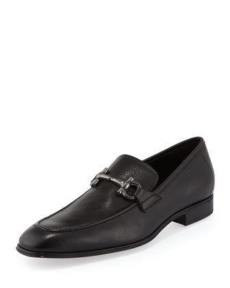 Rigel Pebbled Rubber-Sole Gancini Loafer, Black