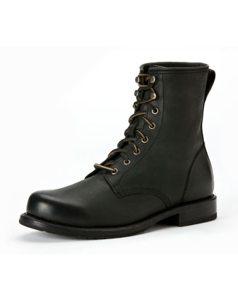 Wayde Leather Combat Boot, Black