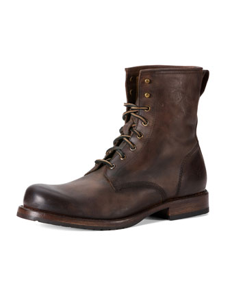 Wayde Leather Combat Boot, Brown