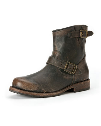 Wayde Leather Engineer Boot, Dark Brown