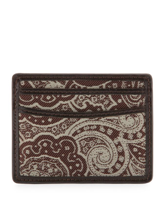 Paisley Print Card Case, Brown