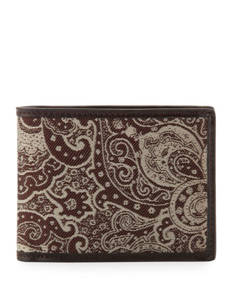 McLean Paisley Print Wallet, Brown