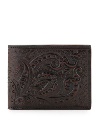 Tooled Paisley Leather Wallet, Brown