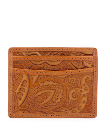 Tooled Leather Card Case, Brown