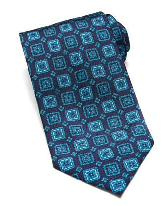 Square-Medallion Silk Tie, Teal