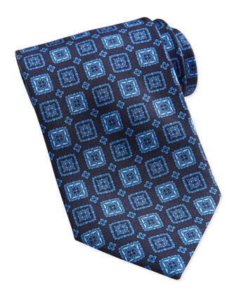 Square Medallion Silk Tie, Blue