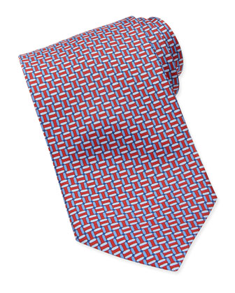 Chain-Links Silk Tie, Red