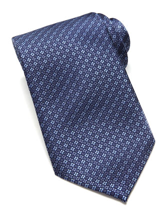 Circle/Square Neat Silk Tie, Blue