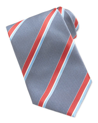 Striped Silk Tie, Blue/Red