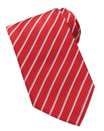 Dotted Textured-Stripe Tie, Red