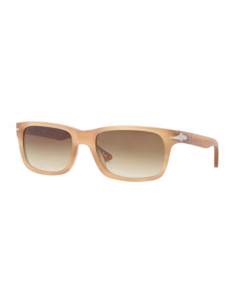 Rectangular Plastic Sunglasses, Honey Havana Antique