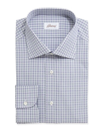 Check-Plaid Long-Sleeve Poplin Dress Shirt, Blue