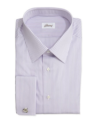 Rope-Stripe French-Cuff Shirt, Purple
