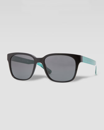 Square Logo-Arm Sunglasses, Black/Green