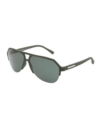 Molded Rubber Pilot Sunglasses, Green